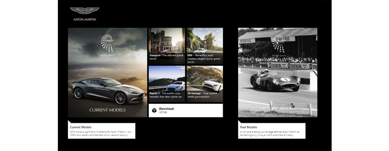Windows 8 - Aston Martin App